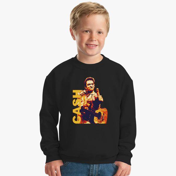 a206a55d3 Johnny Cash Middle Finger Kids Sweatshirt | Hoodiego.com